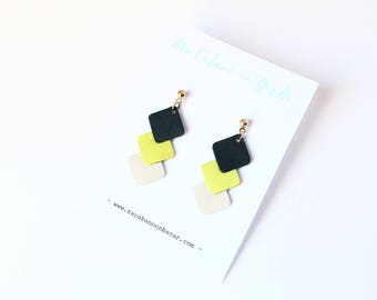 leather earrings / 3 square old yellow ivory and teal