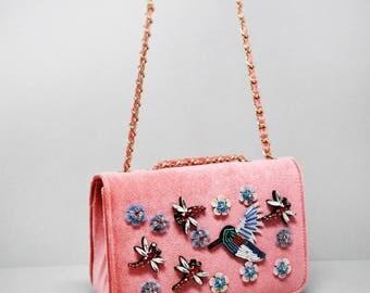 Sweet Bird and Flower Shoulder Bag