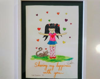 """Original handmade watercolors """"Sharing my happiness with you"""" Little Dreamers SC"""