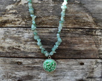 Light Aventurine Stones Necklace with Handmade Polymer Clay Pendant
