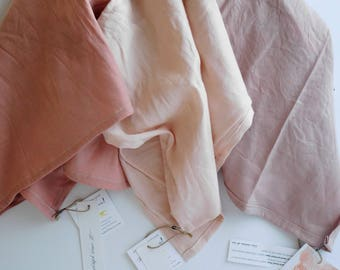 Hand-dyed Washed Linen Tea Towel