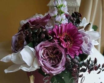 Artificial flowers floral arrangement silk flowers in a box home decor present purple