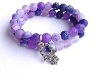 Agate bracelet, Purple agate bracelet, frosted agate bracelet,