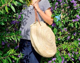 Round handmade straw bag - Round french market basket, boho bag, round basket, beach bag, french market basket, straw bag