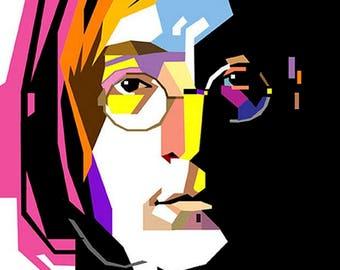 Framed  John Lennon Print 11x17 Black Slim Frame.