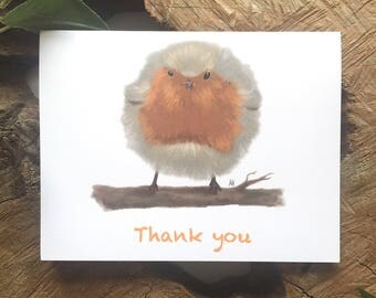 Fluffy Robin Greeting Card   Thank You Card   Bird Card   Bird Thank You Card
