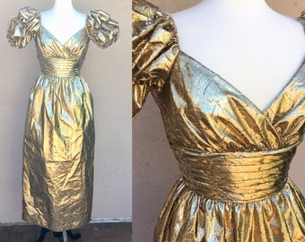 Vintage 80s Prom dress/ Bright Gold Dress/ 80s Prom/ Shiny Dress/ Puffy Sleeves/ Mike Benet Formals/ Prom Dress/ 80s Party/ X Small/ Small
