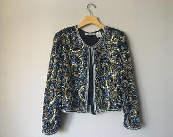 90s Vintage 'Night Vogue' Sequins Jacket