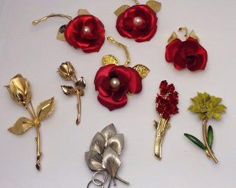 Vintage Floral Brooches - Set of 9