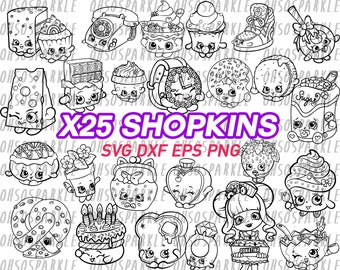 shopkins svg, clipart, vector, png, eps, dxf, cut files, decal, vinyl, stencil, iron on, silhouette, cut cartoon,