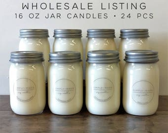 WHOLESALE CANDLES | 24 pcs | Mason Jar Candles, 16 oz Soy Candle, Soy Wax Candles, Scented Candles, Bulk Candles, Modern Farmhouse Decor