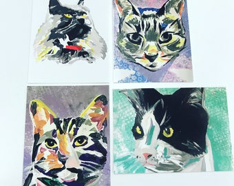 Cat mono prints - set of four postcards
