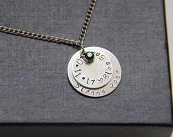 Hand Stamped Custom Birth Announcement Necklace | Birthstone Necklace, New Mom Necklace, Name and Birthdate Necklace