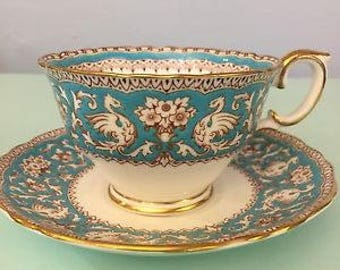 "Crown Staffordshire  Fine  Bone China Cup & Saucer ""Ellesmere""   Turquoise and  White"