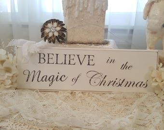Vintage Painted Wood Sign Antique Christmas Sign Hanging Wood Sign Believe In The Magic Of Christmas