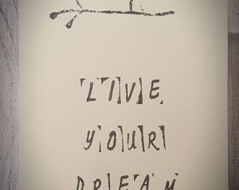 Hand Stamped Quote Notecard|Postcard|Print: 'live your dream'