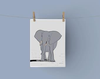 Elephant A4 Print