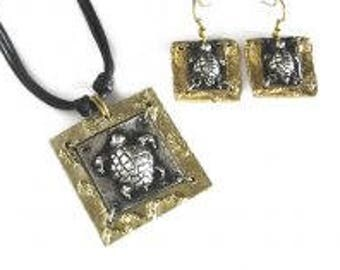 Pewter Necklace and Earrings Set - Sea Turtle, mixed metal jewelry