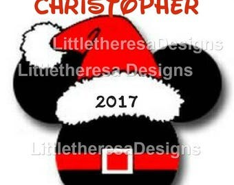 Mickey Santa Head Personalized Iron On Transfer