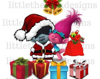 Trolls Poppy and Branch Christmas Family Transfer,Digital Transfer,Digtal Iron On,Diy