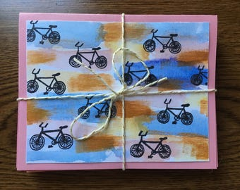 Set of 10 Colorful Bicycle Cards with Envelopes