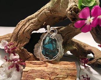 Blue Sea Sediment Jasper & Pyrite Teardrop Pendant