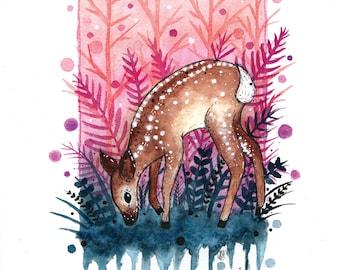 Deer Woodland Watercolour Print