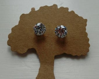 8mm Swarovski white zircionia gemstone stud earrings