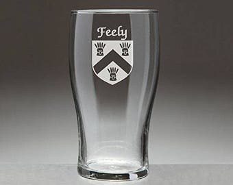 Feely Irish Coat of Arms Tavern Glasses - Set of 4 (Sand Etched)