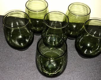 Vintage Green Juice Glasses