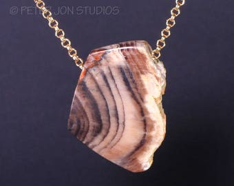 Petrified Wood Pendant, Natural Surface Petrified Wood, Oregon Petrified Wood