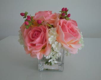 Faux Silk Flowers in Glase Vase - Artificial Floral Arrangement - Artificial Flowers Centrepiece