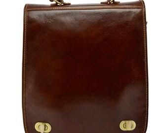 Genuine Leather Backpack and Shoulder Bag