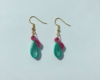 Magenta and teal droplet paper earring