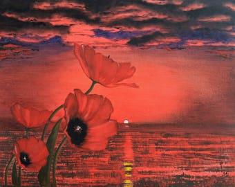 Crimson Poppies - Oil Painting
