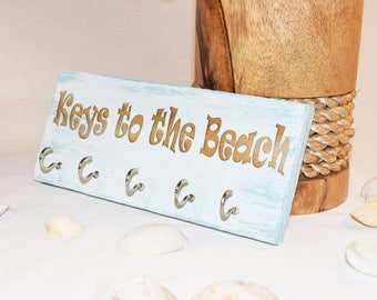 Engraved Keys to the Beach Sign | Key Hook | Gift | 5x10 | Home Decor | Pallet Wood | Laser | Engraved | Beach | Coastal | Nautical | Wall