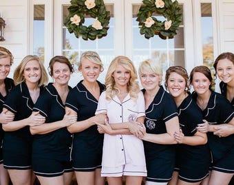 Bridesmaid Pajamas short set, bridesmaid pajama pants, bridesmaid pajama shirts, bridesmaid pajamas set, pj set, pj short set, pj pants