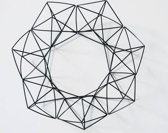 Plastic Himmeli Wreath — 17 inch — Scandinavian Design | Geometric Wreath | Handmade Wreath | Plastic Mobile | Geometric Mobile | Nordic