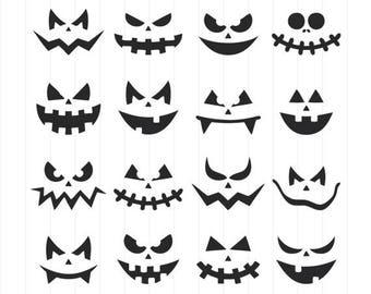 INSTANT DOWNLOAD - Pumpkin Faces Svg, Halloween Clipart, Halloween Svg Silhouette, Halloween Pumpkin, Pumpkin Faces Silhouette Svg,Halloween
