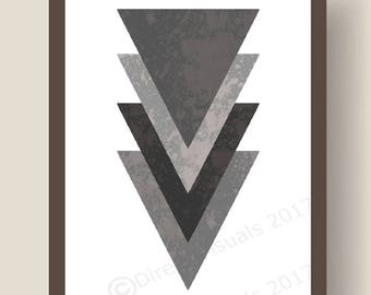 Four Grey Grundge Effect Triangles Wall Art Print