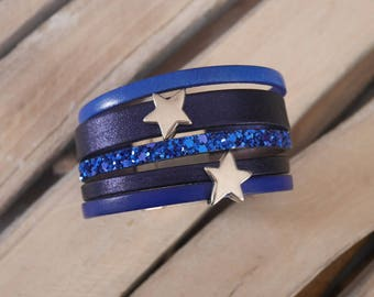Navy blue leather Cuff Bracelet and dark blue with silver stars (BR16) loops