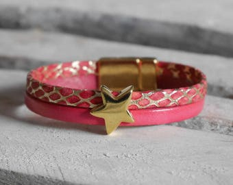 CLEARANCE Bracelet leather red coral and gold with gold star passing (BR100)