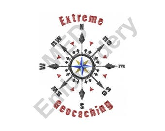 Compass - Machine Embroidery Design, Geocaching