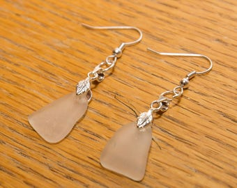 Triangular clear seaglass earrings