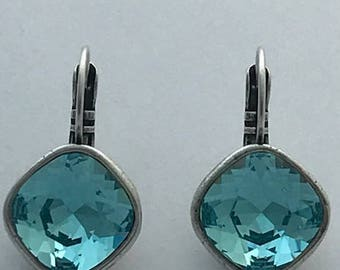 Swarovski Light Turquoise Antique Silver plated Nickel free Leverback Earrings
