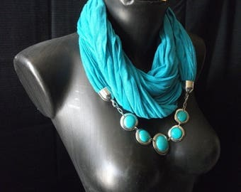 pretty blue turquoise jewelry and bracelet matching scarf set