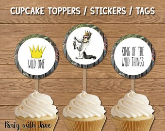 Where the Wild Things Are Cupcake Toppers, Tags, Birthday Party Decorations, Decor, Party Favor,