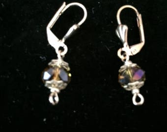Gold Dangle Earrings, Iridescent, Glass Bead, .75 Inch Drop Earrings, Gift Wrapped, Bridesmaid Gift