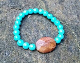CALM WATERS Bracelet / Red Tiger's Eye + Turquoise Dyed Howlite Healing Gemstone Bracelet / Wrist Mala