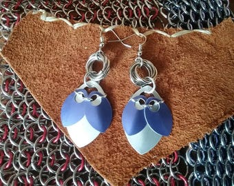 Purple and Silver Scale Earrings